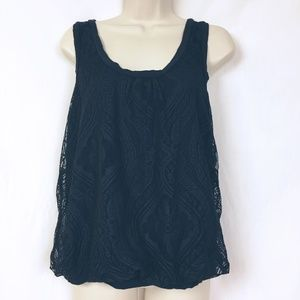 Pleione Lace Layered Bubble Tank Top M